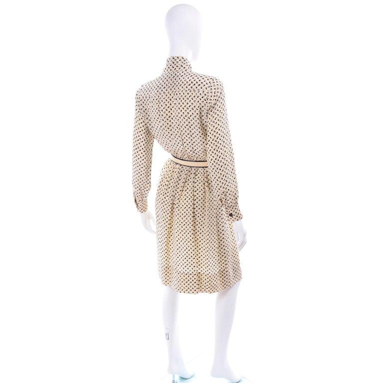 Women's 1970s Chanel Vintage Cream Black Tulip Print Silk Day Dress  For Sale