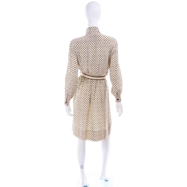 1970s Chanel Vintage Cream Black Tulip Print Silk Day Dress  For Sale 1