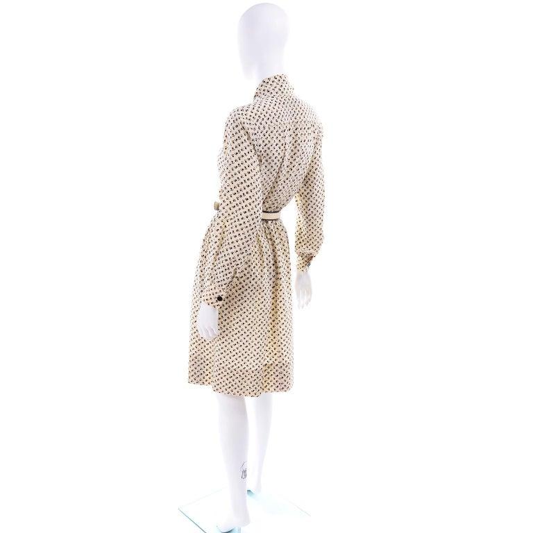 1970s Chanel Vintage Cream Black Tulip Print Silk Day Dress  For Sale 2