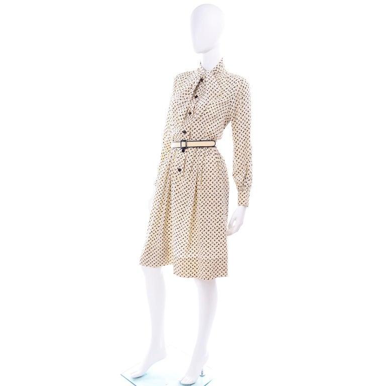 1970s Chanel Vintage Cream Black Tulip Print Silk Day Dress  For Sale 3