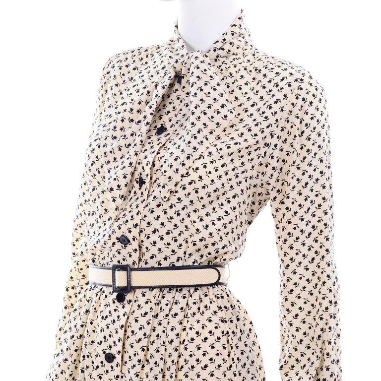 1970s Chanel Vintage Cream Black Tulip Print Silk Day Dress  For Sale 4