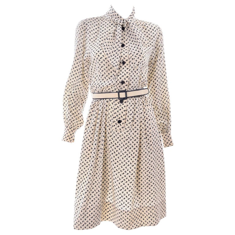 1970s Chanel Vintage Cream Black Tulip Print Silk Day Dress  For Sale