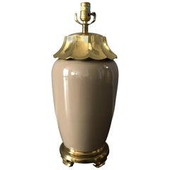 1970s Chapman Brass and Ceramic Pagoda Motif Lamp