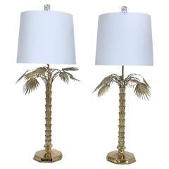 1970s Chapman Brass Palm Tree Table Lamps, Pair