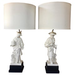 1970s Chapman Chinoiserie Porcelain Figural Asian Table Lamps, Pair