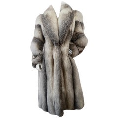 Charles Calfun 1970s Grey Fox Fur Coat