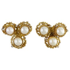 1970s Charles de Temple Mabe Pearl Diamond and Gold Ear Clips