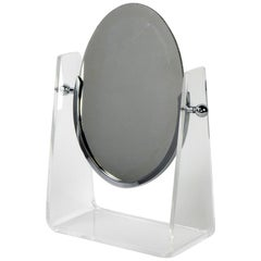 1970s Charles Hollis Jones Design Lucite and Nickel Table Mirror
