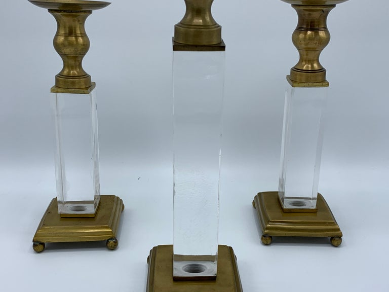 1970s Charles Hollis Jones Style Lucite and Brass Candlesticks, Set of 3 In Good Condition For Sale In Richmond, VA