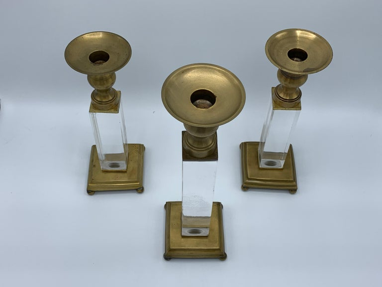 1970s Charles Hollis Jones Style Lucite and Brass Candlesticks, Set of 3 For Sale 1