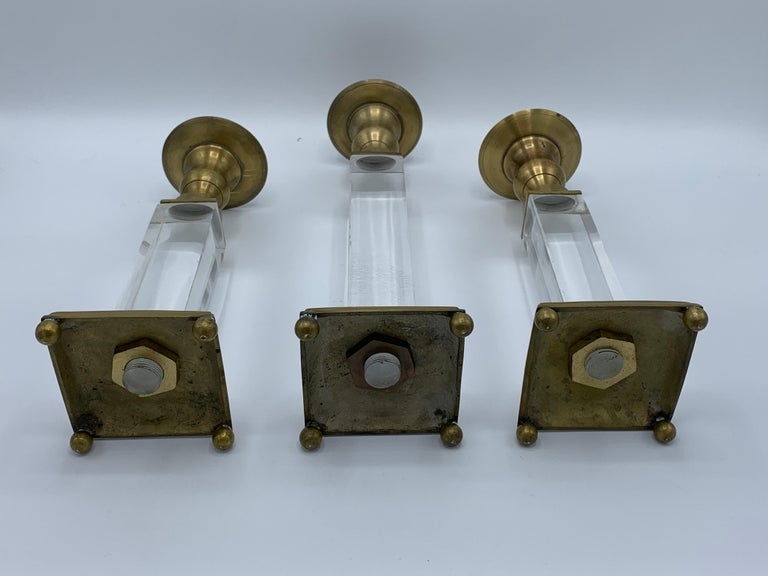 1970s Charles Hollis Jones Style Lucite and Brass Candlesticks, Set of 3 For Sale 2