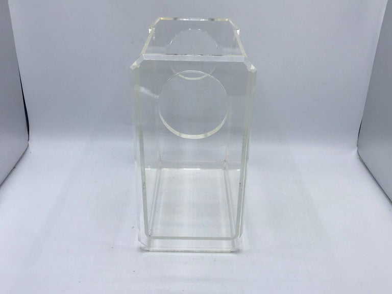 1970s Charles Hollis Jones Style Lucite Waste Basket In Excellent Condition For Sale In Richmond, VA