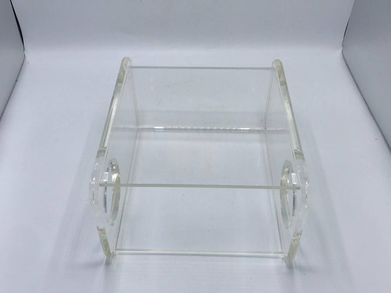 20th Century 1970s Charles Hollis Jones Style Lucite Waste Basket For Sale