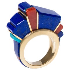 1970s Charles Loloma Lapis, Coral, Turquoise and Gold Height Inlay Ring