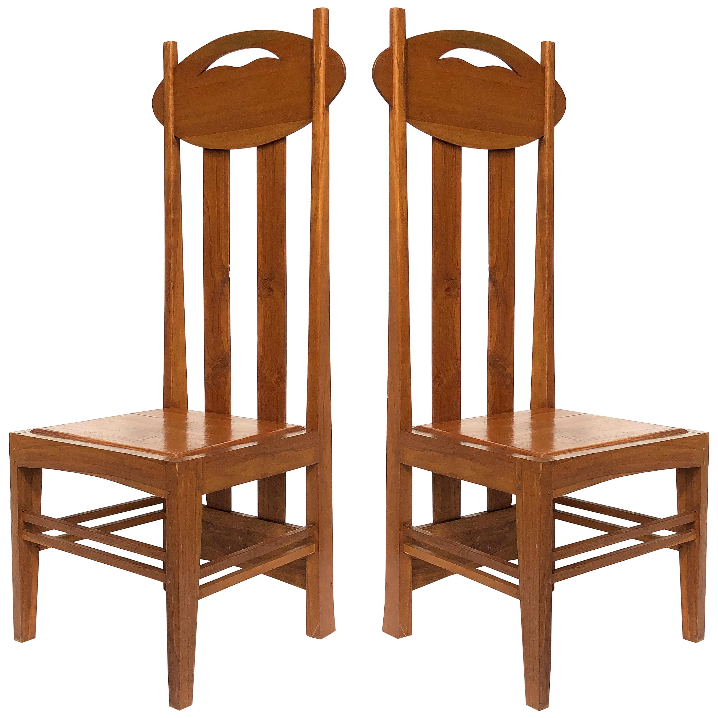 1970s Charles Rennie Mackintosh High-Back Chairs, Pair