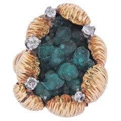 1970s Chatham Emerald Diamond Gold Free Form Ring