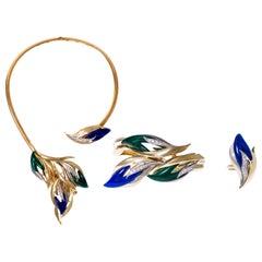 1970s Chaumet Malachite, Lapis Diamond, Gold Necklace, Bracelet Ring Demi-Parure