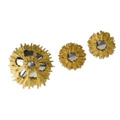 1970s Chaumet Mirror Finish Brooch and Earrings Set