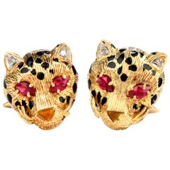 1970s Cheetah Diamond Ruby Enamel 18 Karat Cat Cufflinks