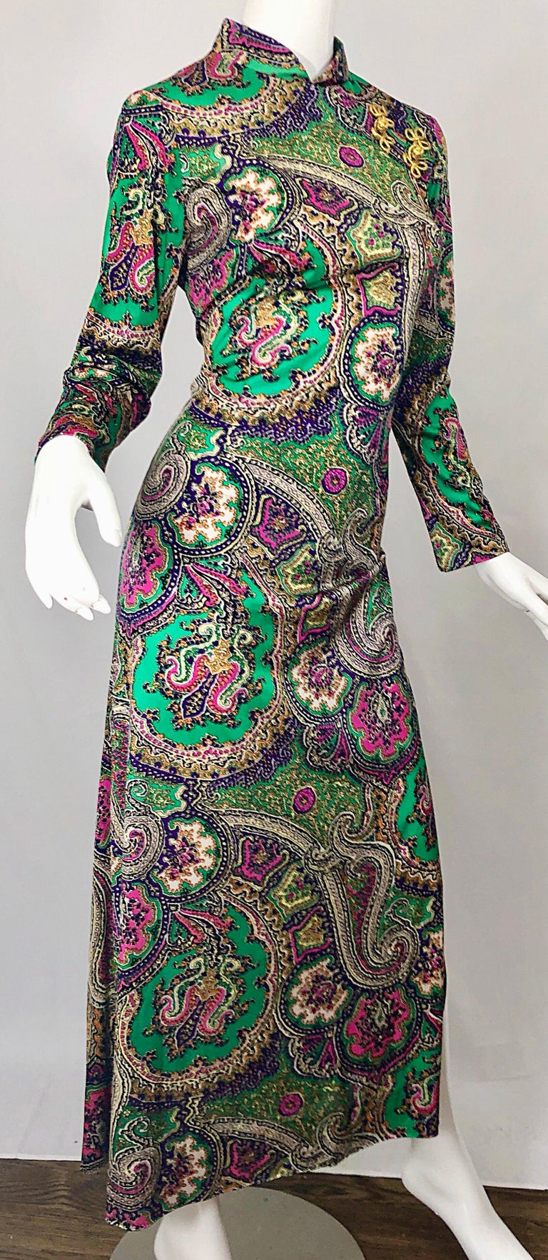 1970s Cheongsam Inspired Colorful Paisley Print Jersey Long Sleeve Maxi Dress For Sale 6