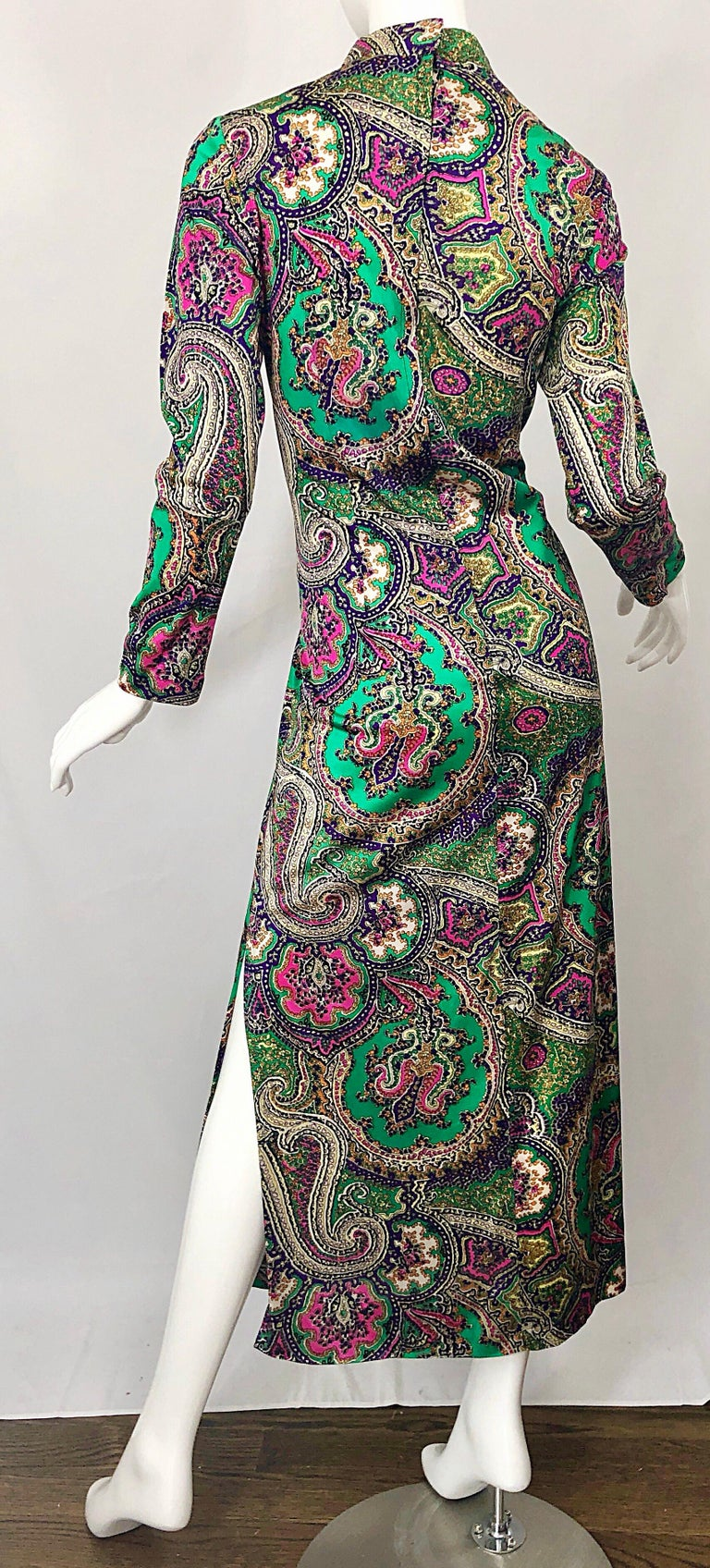 1970s Cheongsam Inspired Colorful Paisley Print Jersey Long Sleeve Maxi Dress For Sale 7