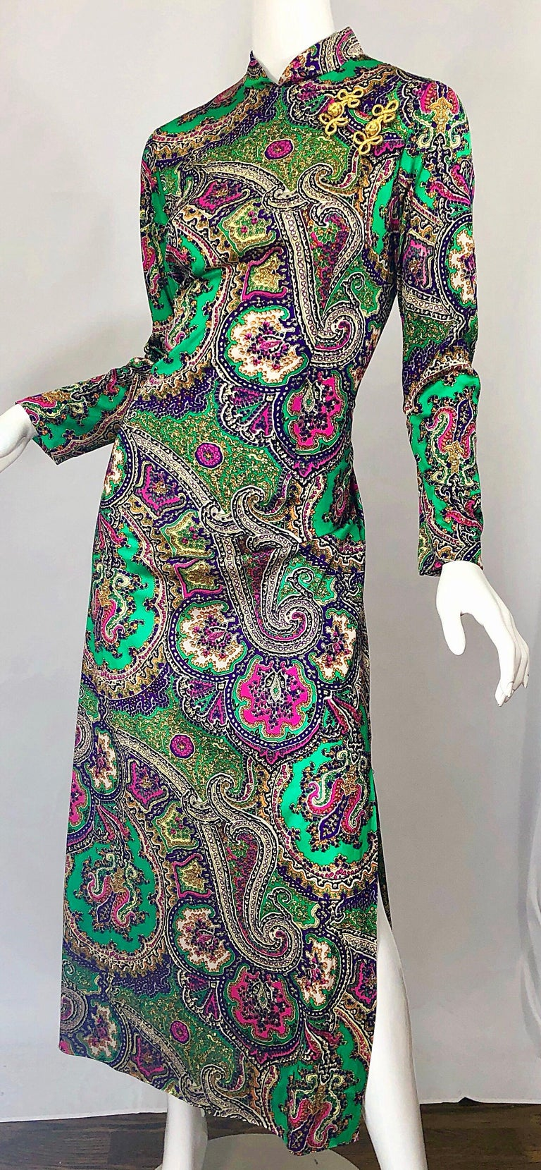 1970s Cheongsam Inspired Colorful Paisley Print Jersey Long Sleeve Maxi Dress For Sale 8