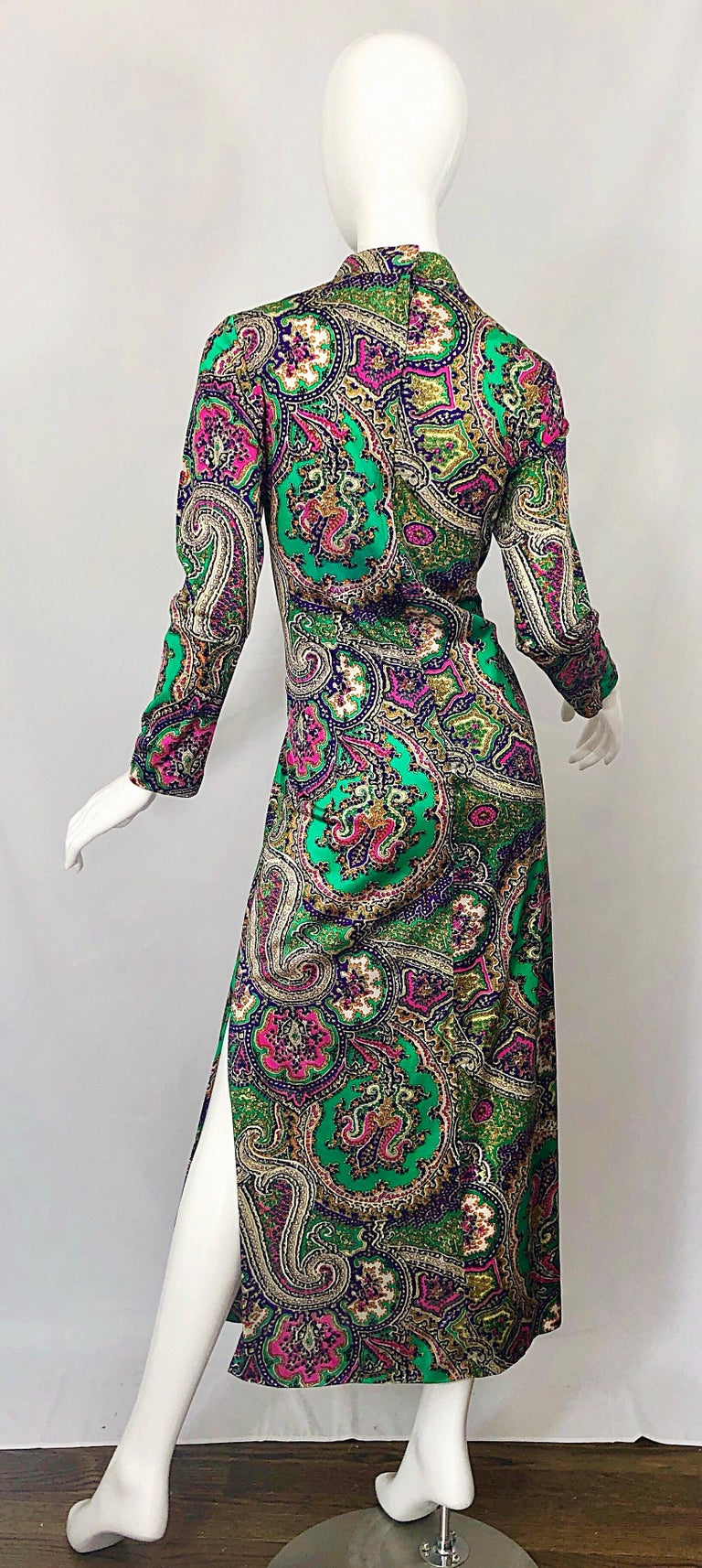 Women's 1970s Cheongsam Inspired Colorful Paisley Print Jersey Long Sleeve Maxi Dress For Sale
