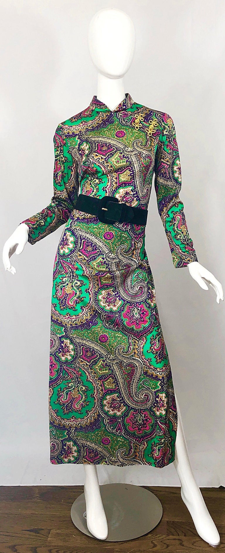 1970s Cheongsam Inspired Colorful Paisley Print Jersey Long Sleeve Maxi Dress For Sale 4