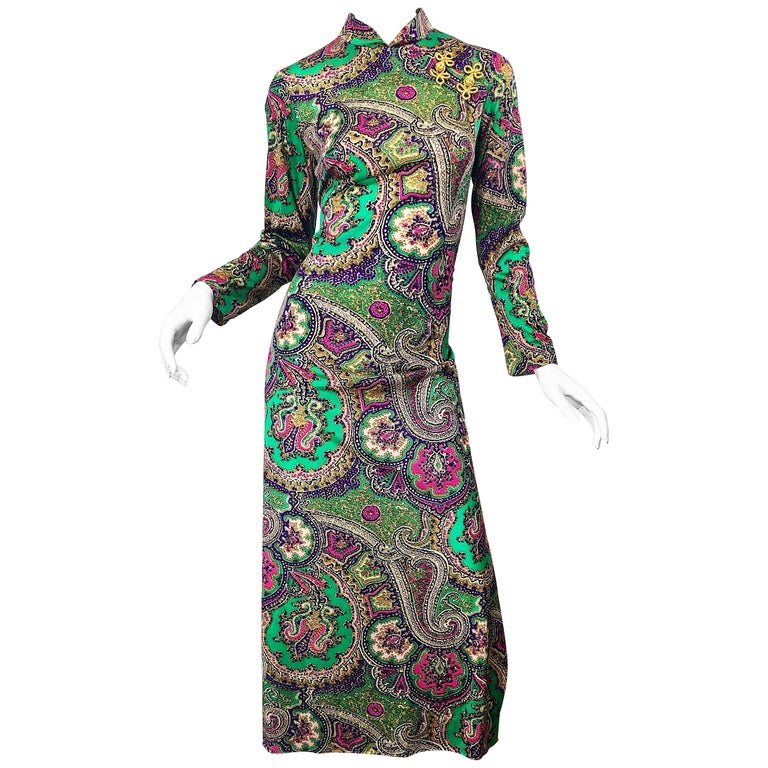 1970s Cheongsam Inspired Colorful Paisley Print Jersey Long Sleeve Maxi Dress For Sale