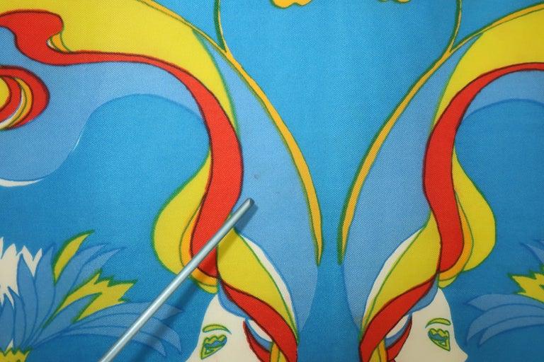 1970's Chereskin Psychedelic Mod Print Silk Scarf For Sale 5