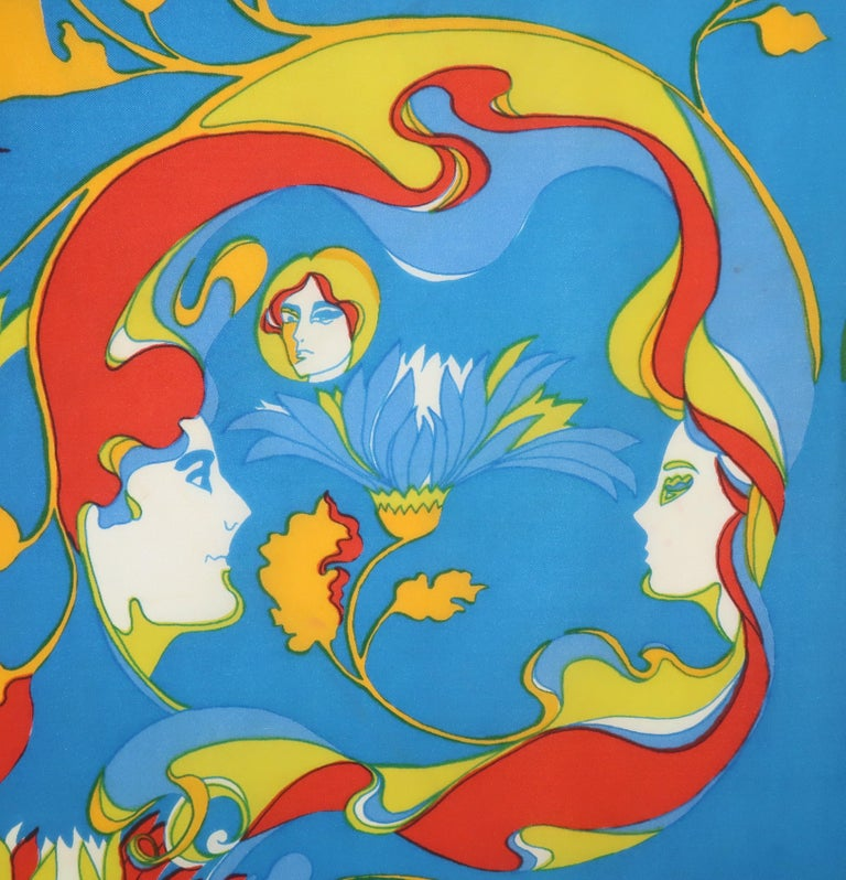 Mod squad!  This 1970's psychedelic print silk scarf by Ron Chereskin is definitely a step back in time to the era of bell bottoms and platform shoes.  Mr. Chereskin started his career as a graphic designer and illustrator later lending his skills
