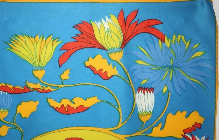 Blue 1970's Chereskin Psychedelic Mod Print Silk Scarf For Sale