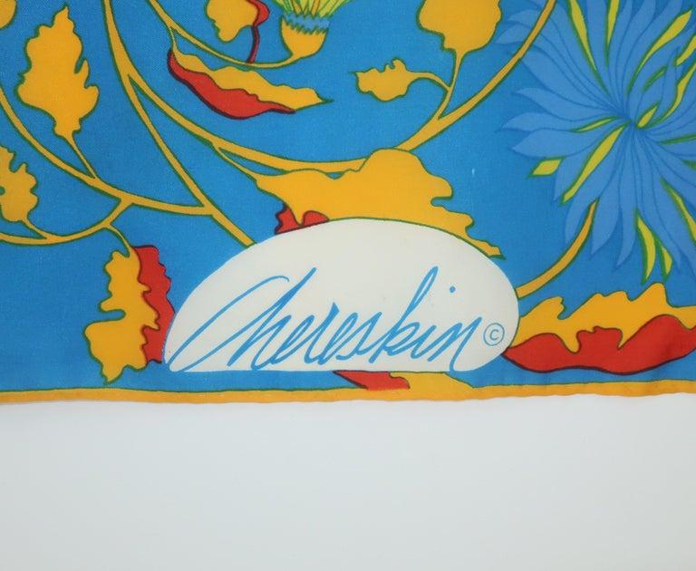 1970's Chereskin Psychedelic Mod Print Silk Scarf In Fair Condition For Sale In Atlanta, GA