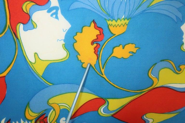 1970's Chereskin Psychedelic Mod Print Silk Scarf For Sale 3
