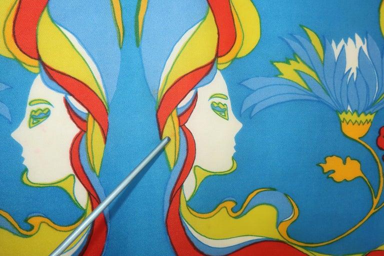 1970's Chereskin Psychedelic Mod Print Silk Scarf For Sale 4