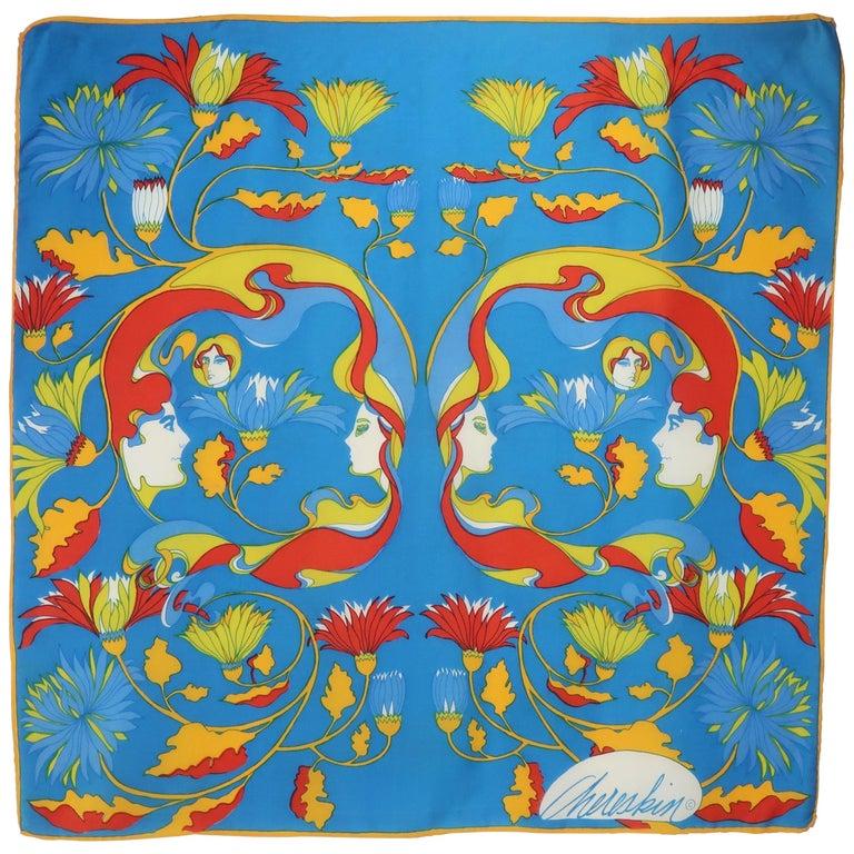 1970's Chereskin Psychedelic Mod Print Silk Scarf For Sale