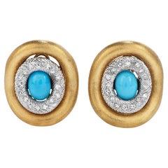 1970's Chic Diamond 4.90ct Turquoise 18K Gold Elegant Large Earrings