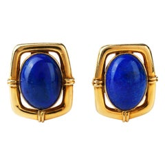 1970s Chic Ribbed Lapis Lazuli 14 Karat Clip-On Earrings