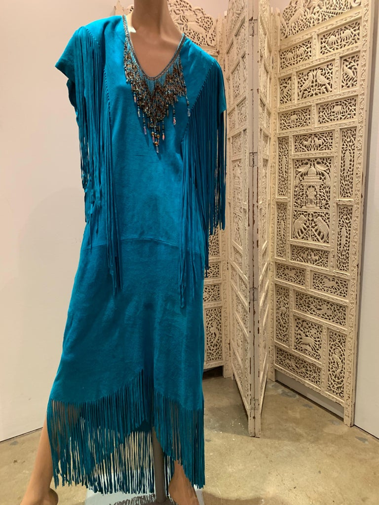 1970s Chic Skins Turquoise Suede Caftan W/ Suede & Heavy Beadwork Fringe  For Sale 5