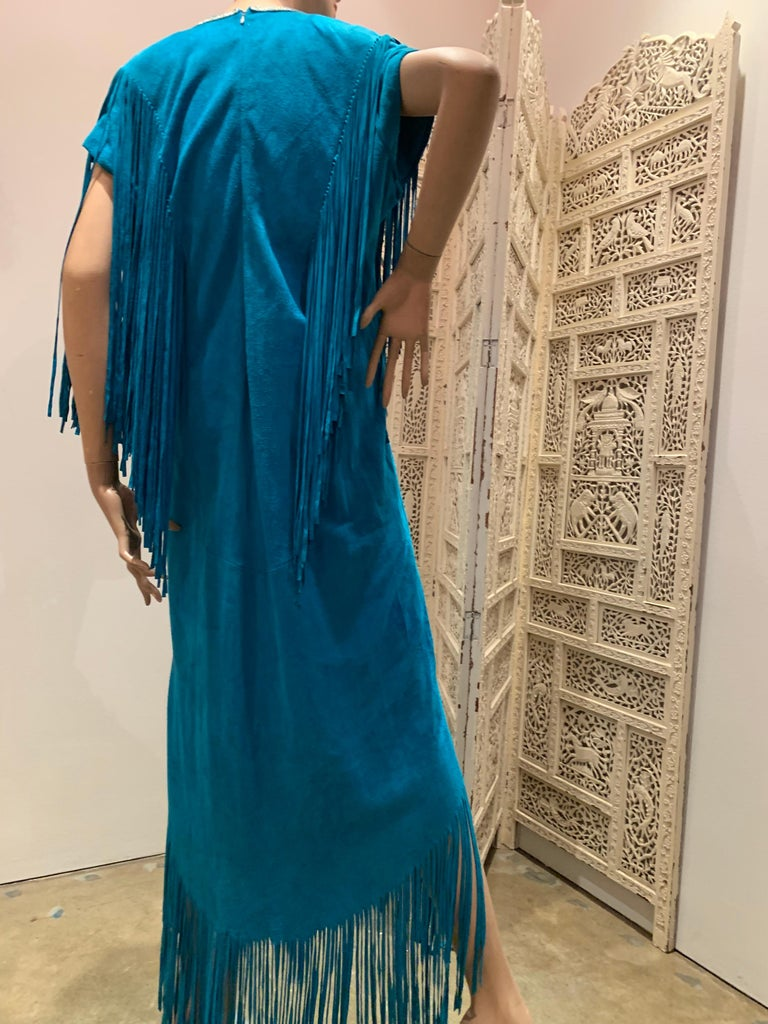 1970s Chic Skins Turquoise Suede Caftan W/ Suede & Heavy Beadwork Fringe  For Sale 6