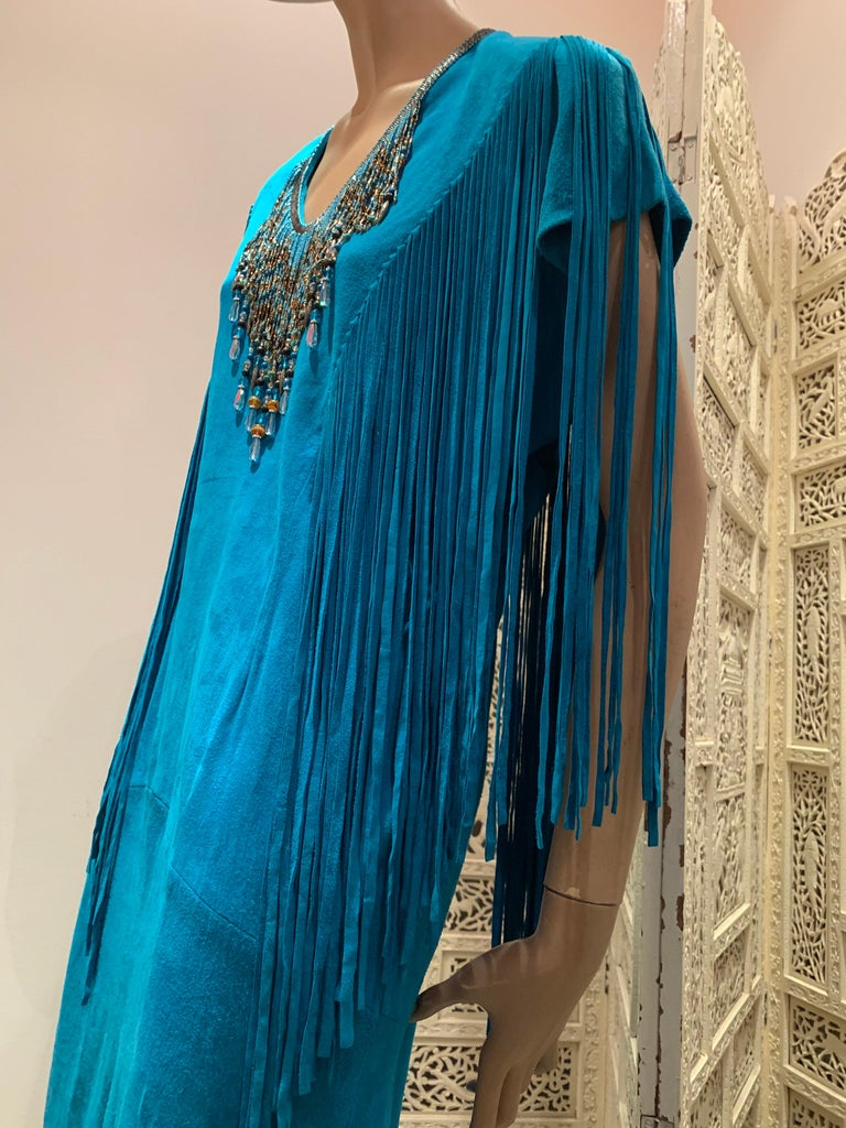 1970s Chic Skins Turquoise Suede Caftan W/ Suede & Heavy Beadwork Fringe  For Sale 9