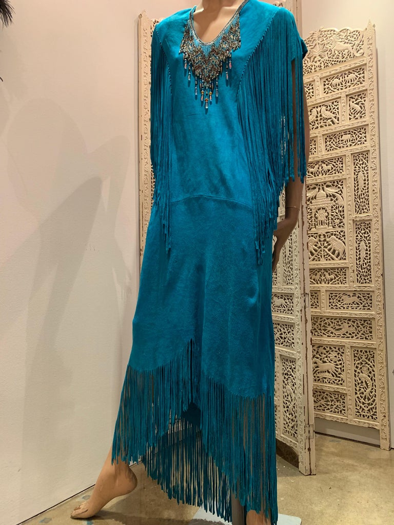 1970s Chic Skins Turquoise Suede Caftan W/ Suede & Heavy Beadwork Fringe  For Sale 11