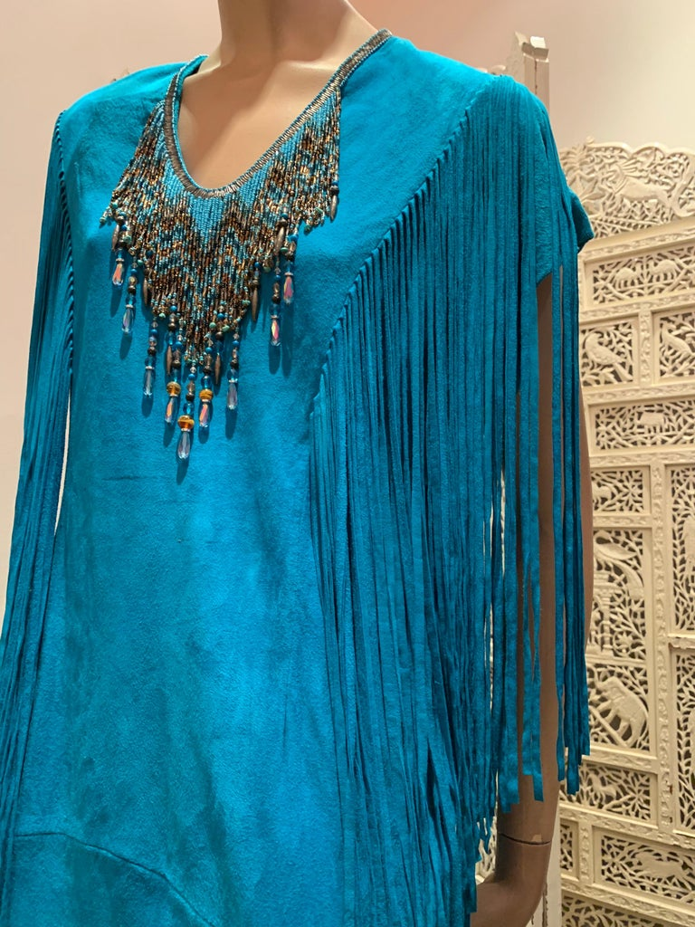 1970s Chic Skins Turquoise Suede Caftan W/ Suede & Heavy Beadwork Fringe  For Sale 13