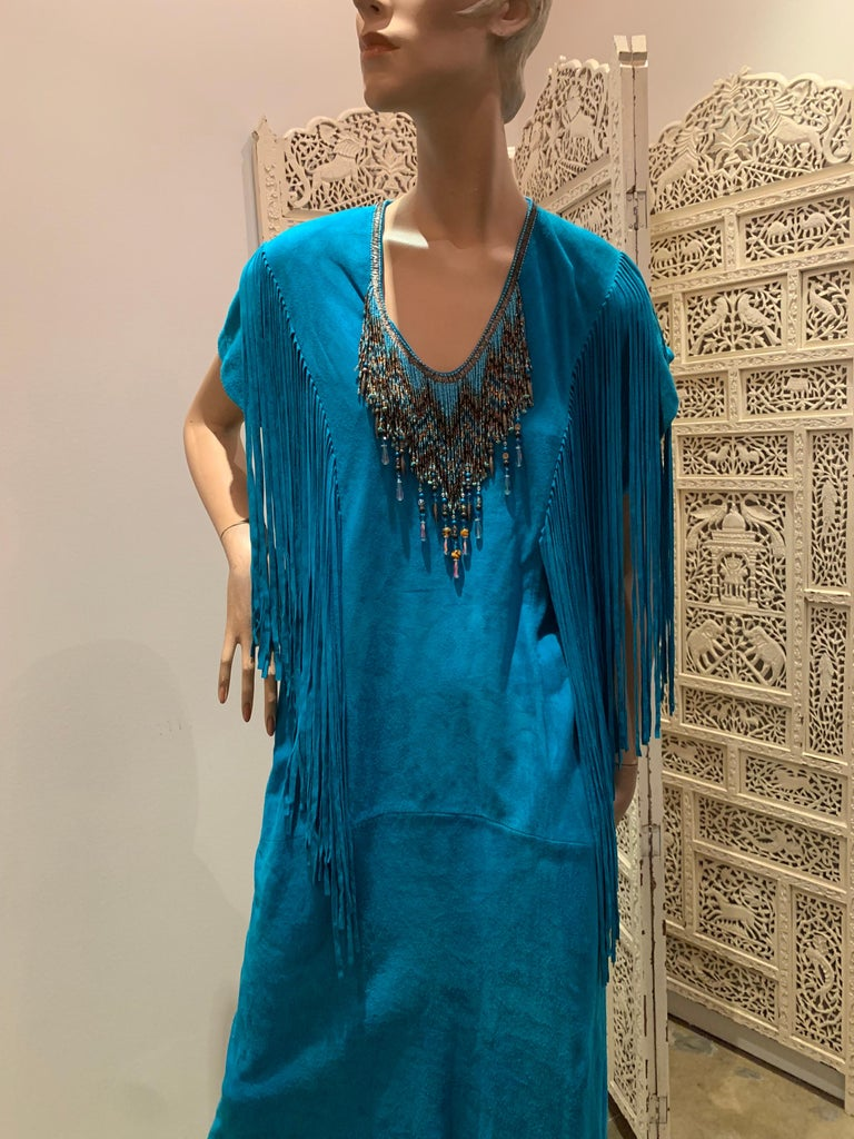 Blue 1970s Chic Skins Turquoise Suede Caftan W/ Suede & Heavy Beadwork Fringe  For Sale