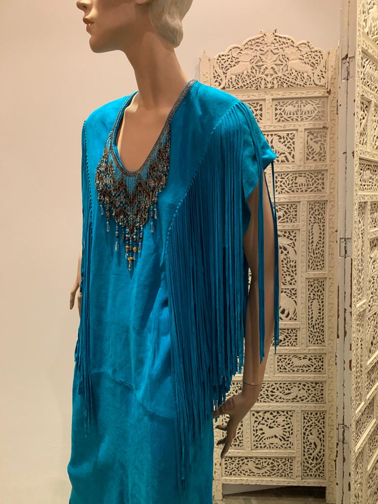 1970s Chic Skins Turquoise Suede Caftan W/ Suede & Heavy Beadwork Fringe  In Excellent Condition For Sale In San Francisco, CA