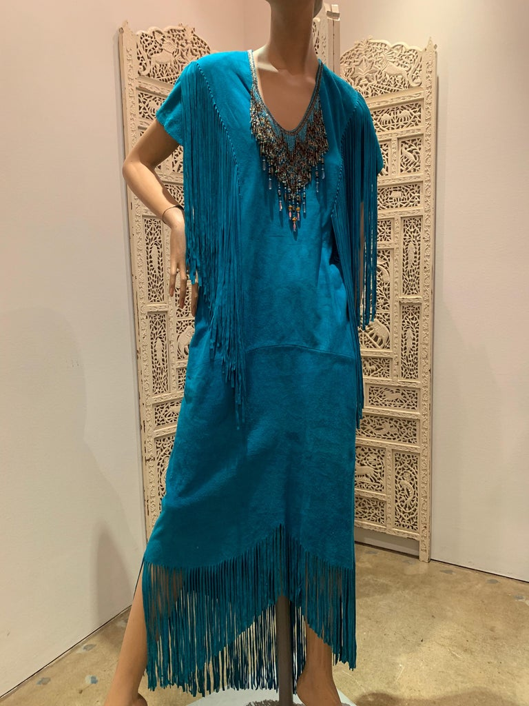 Women's 1970s Chic Skins Turquoise Suede Caftan W/ Suede & Heavy Beadwork Fringe  For Sale
