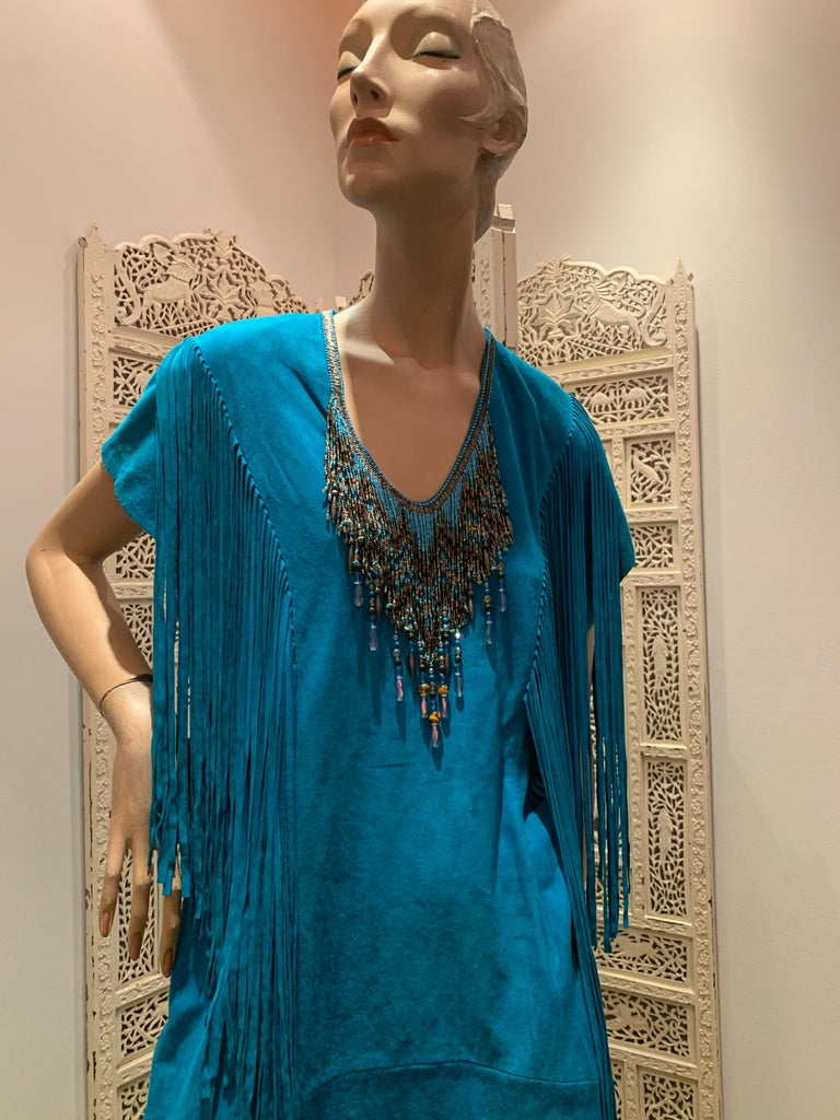 1970s Chic Skins Turquoise Suede Caftan W/ Suede & Heavy Beadwork Fringe  For Sale 1