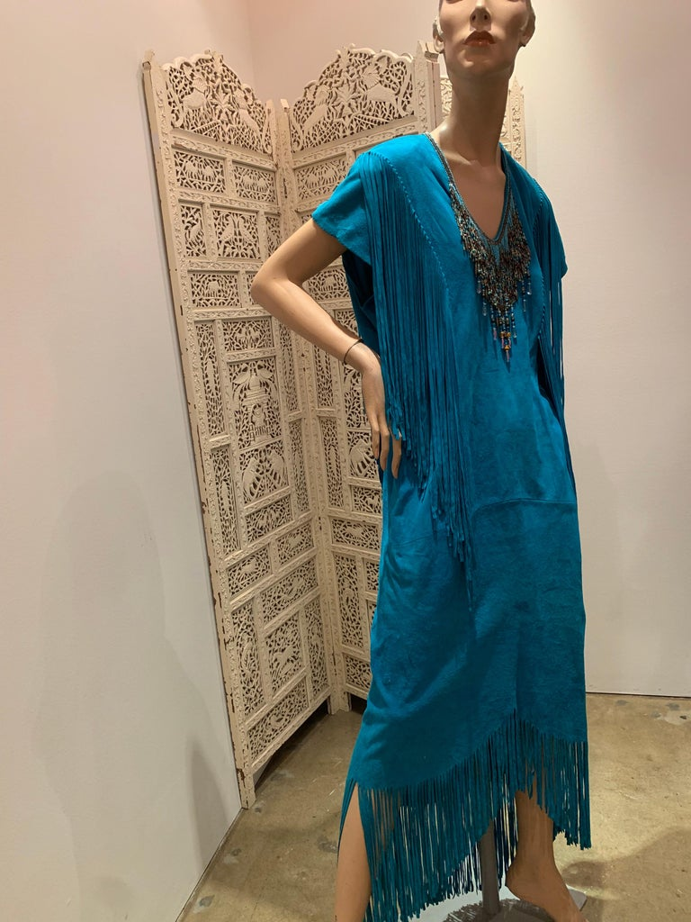 1970s Chic Skins Turquoise Suede Caftan W/ Suede & Heavy Beadwork Fringe  For Sale 2