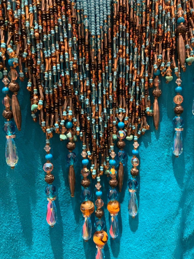 1970s Chic Skins Turquoise Suede Caftan W/ Suede & Heavy Beadwork Fringe  For Sale 3