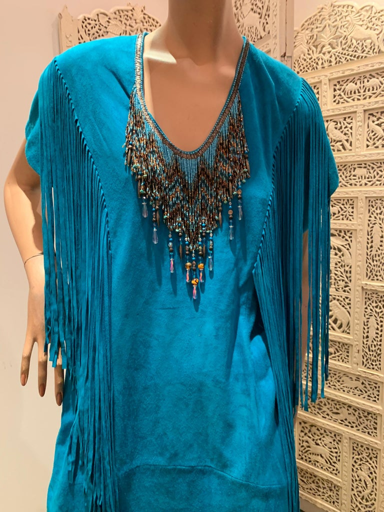 1970s Chic Skins Turquoise Suede Caftan W/ Suede & Heavy Beadwork Fringe  For Sale 4